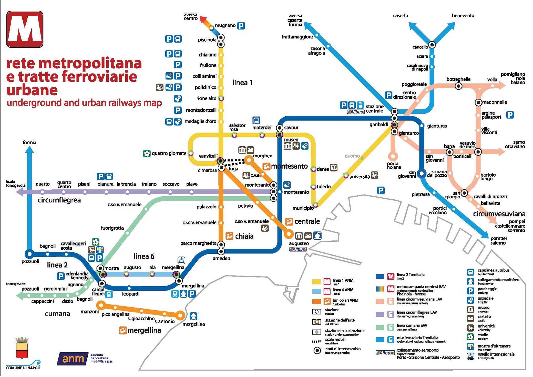 Come muoversi a Napoli - mappa dei trasporti a Napoli