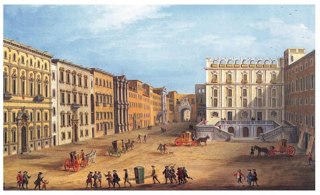 Piazza Bellini in un quadro di Antonio Joli